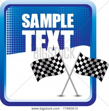 racing checkered flags on blue halftone vertical banner