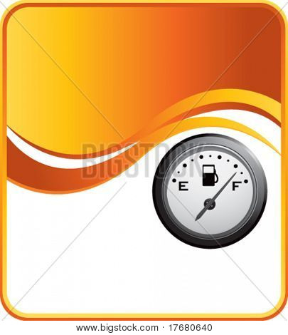 gas gauge on orange wave background