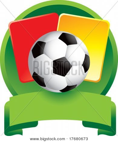 red and yellow penalty cards with soccer ball on green crest