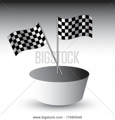 racing checkered flags on racetrack patch