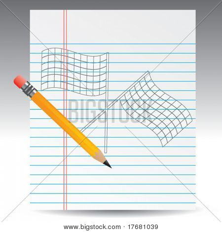 racing checkered flags on notebook paper with pencil
