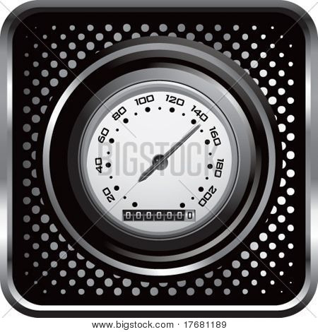speedometer on black halftone web button