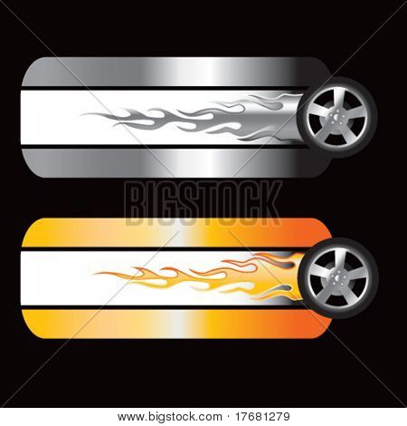 flaming tires on specialized banners