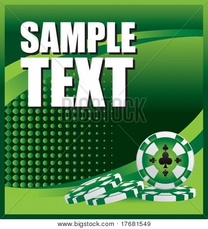 gambling chips on green halftone banner