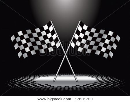 racing checkered flags under spotlight