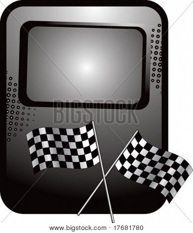 racing checkered flags on template banner