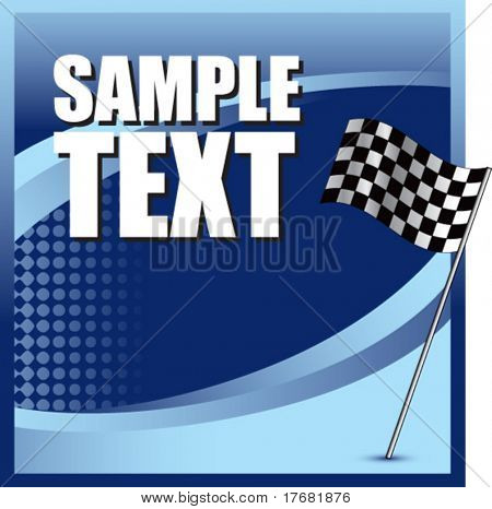 racing checkered flag on blue halftone banner