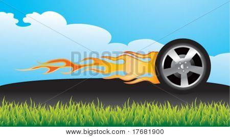 pneu flamejante na calçada