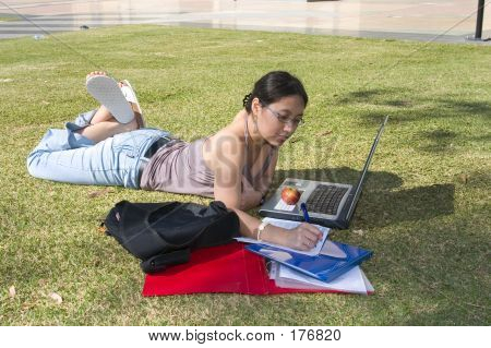 College Student Studying Outside