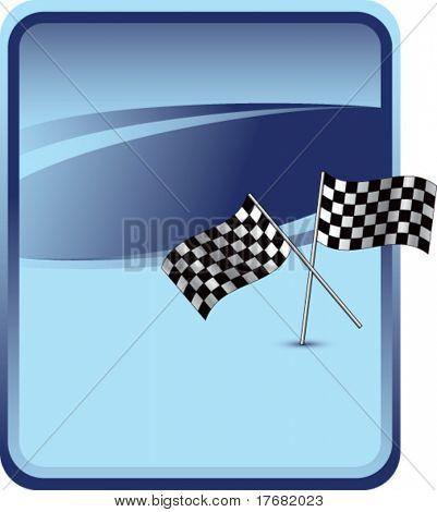 racing checkered flags on blue background