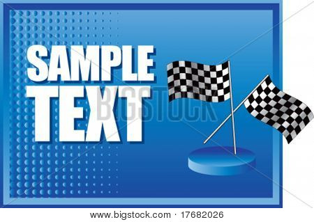 racing checkered flags on blue halftone banner