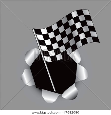 racing checkered flag coming out of paper hole