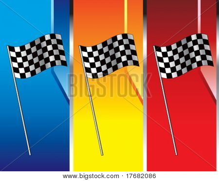 racing checkered flag on vertical colored banners
