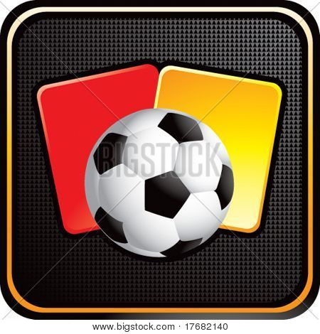 soccer ball and penalty cards on