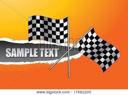 racing checkered flags on ripped banner