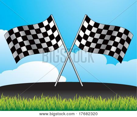 racing checkered flag on racetrack