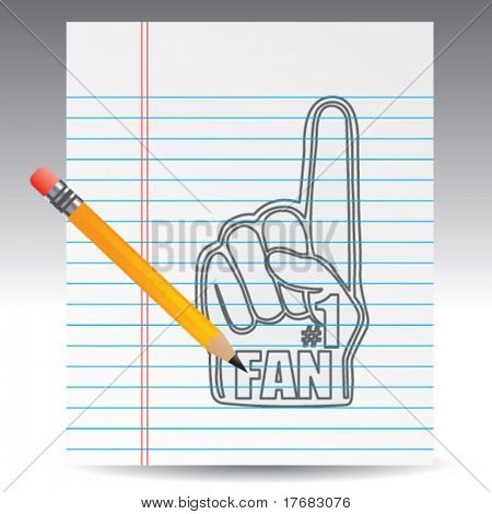 number one fan foam hand on notebook paper with pencil