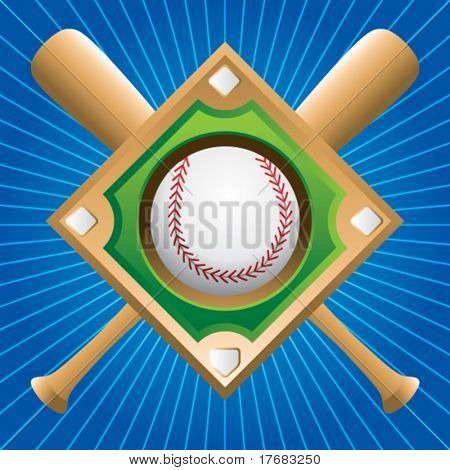 baseball diamond with crossed bats on blue starburst
