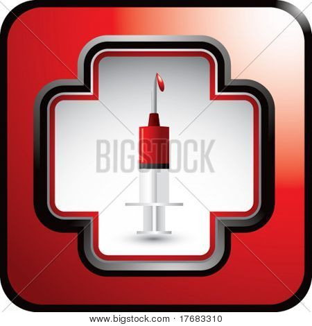 syringe with blood in first aid symbol on red web button
