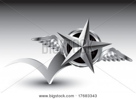 winged icon featuring silver star bouncing