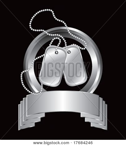 dog tags on silver banner
