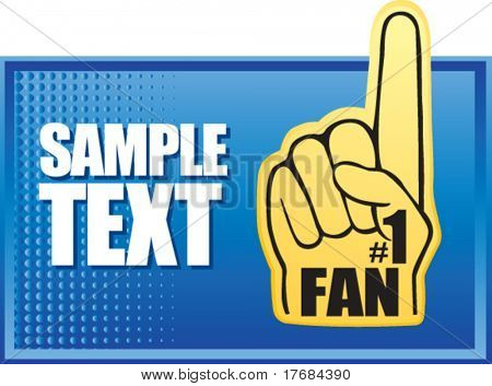 number one fan foam hand on blue halftone banner