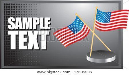bandeiras americanas no banner prata
