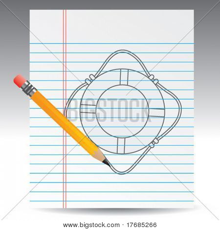 life ring on notebook paper with pencil