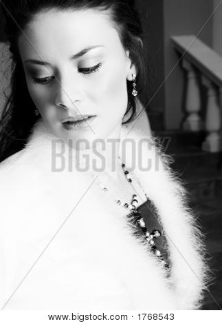 Beautiful Bride In Feather Coat