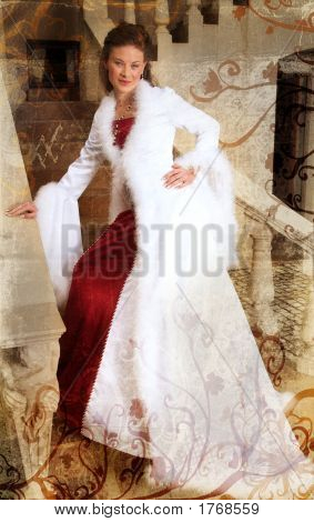 Grunge Beautiful Smiling Bride On Stairs