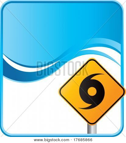 hurricane warning sign on blue background