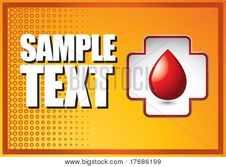 blood droplet in first aid icon on orange halftone banner