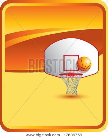 basketball backboard and hoop on orange background