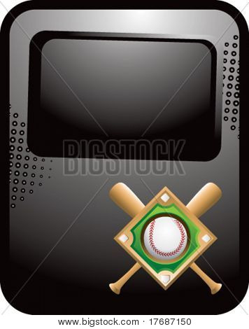 baseball diamond and crossed bats on black template banner
