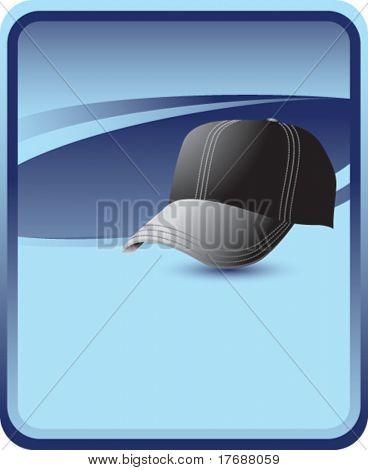 black baseball cap on blue background