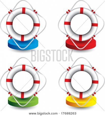 life ring on colored discs
