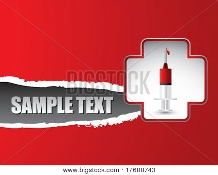 blood in syringe in first aid icon on red ripped banner