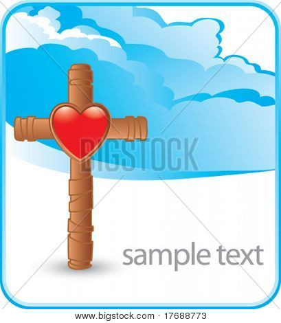 wooden cross with heart icon on cloud banner