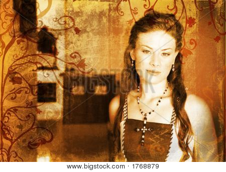 Grunge Beautiful Bride With Long Hair