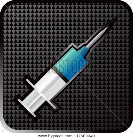 blue syringe on black halftone web button