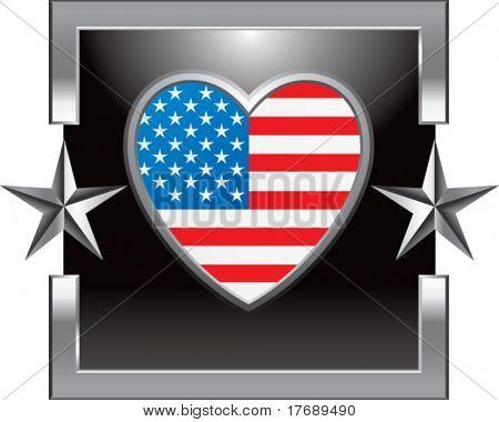 coração americano sobre fundo de prata estrela