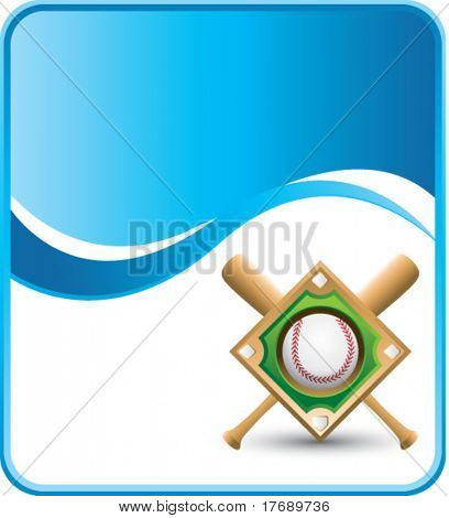 baseball diamond and crossed bats on wave background template