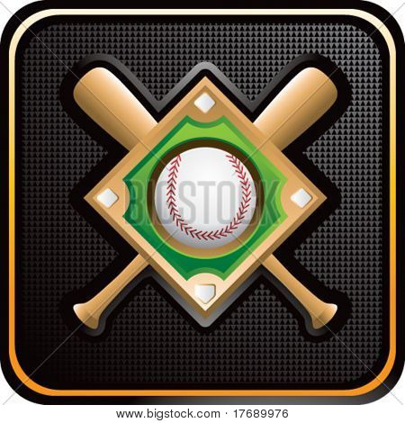 baseball diamond and crossed bats on glossy web button