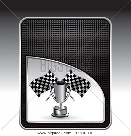 racing checkered flags and trophy on modern wave background