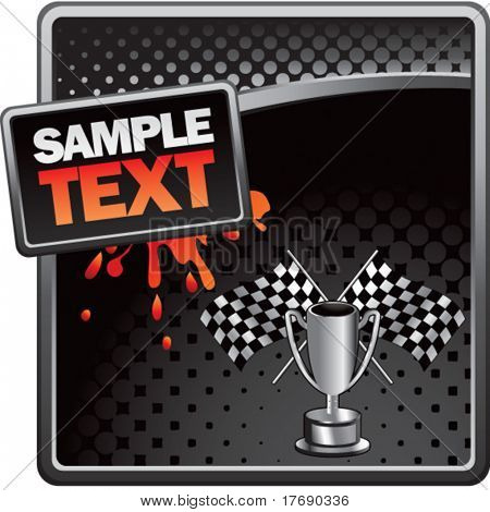 racing checkered flags and trophy on grungy splattered background
