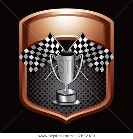 racing checkered flags and trophy on brown display