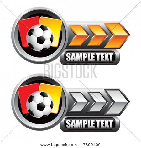soccer ball with red and yellow cards on arrow banner