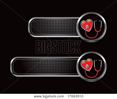 stethoscope and heart on black tabs