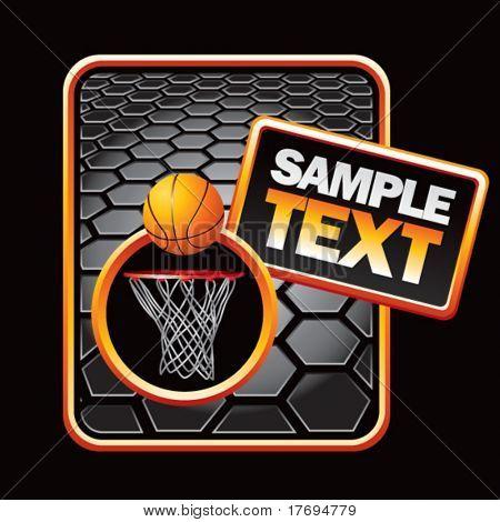basketball hoop on black hexagon banner template