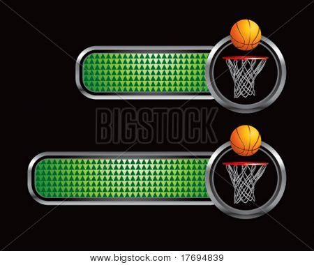 basketball and hoop on green checkered tabs
